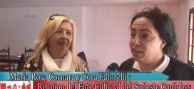 M. Rosa Cornara y C. Fatorelli en reunión del Ente Cultural del Sudeste Cordobés