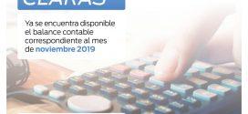BALANCE MES DE NOVIEMBRE DE 2019